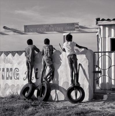 Boys with Tyres Strandfontein Pavilion Cape South Africa1984